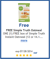 FREE Box of Simple Truth Instant Oatmeal at Ralphs